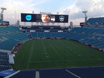 My friend works for the Jaguars Theyre testing their new scoreboard