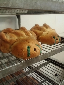 My friends bakery was making Easter bunnies with MampM centers Never have I seen such horror