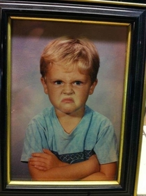 My friends boyfriend was not happy about his kindergarten picture His parents still have it framed in their house  years later