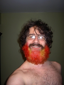 My friends dad lost a bet and dyed his beard