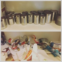 My friends kid did this to their pantry