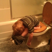 My friends nephew fell asleep taking a dump