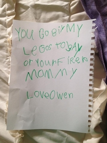 My friends son left this love note on her pillow