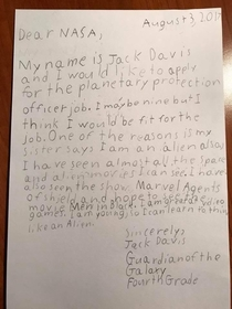 My friends son wrote a letter to NASA