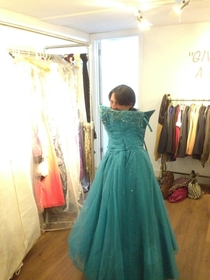 My ft Stepmom in a large ballgown we found in a thrift store