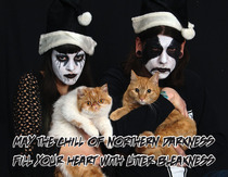 My GF got a Groupon for Xmas cards Can we bring the cats She asked me followed by Can we wear corpse paint I present to Reddit Black Metal Christmas with cats