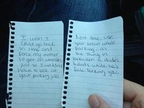 My girl writes the best notes to asshole drivers Yesterday she got to handle two
