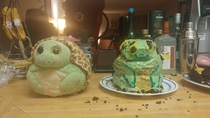 My girlfriend and I tried to bake a cake in the shape of our favourite stuffed animal