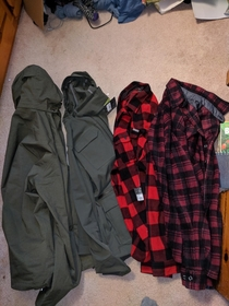 My girlfriend and my parents both got me a green jacket and red plaid