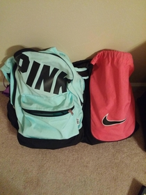 My girlfriend asked me to bring her her pink bag Ive never been more confused