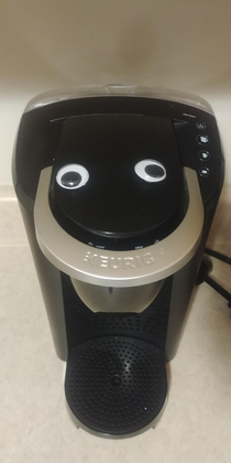 My girlfriend did this while I was at work and it took me two days to notice She named him Craig the Keurig