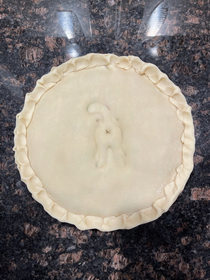 My girlfriend made a chicken pot pie for dinner