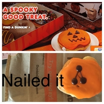 My girlfriend ordered a Halloween pumpkin donut from Dunkin Donuts It was not quite as advertised
