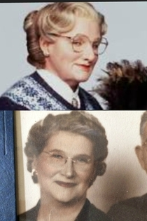 My girlfriends great grandma looks almost identical to Mrs Doubtfire