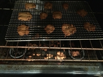 My hubby tried to bake cookies tonight On a cooling rack