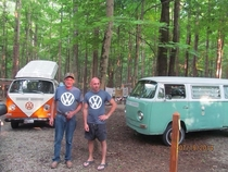 My husband and I were camping and we found a fellow VWer wearing the same shirt and owning the same year of bus