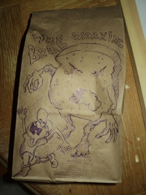 My husband drew this on my sons lunch bag - Walking Dead fans