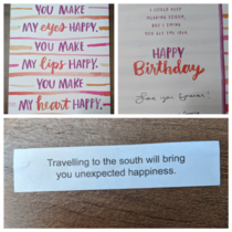 My husband got this fortune right after opening his birthday card