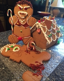 My husband helped out with the gingerbread man