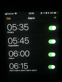 My husbands morning alarm strategy