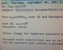 My IT friends password generator that picks any  letters at random managed to send this to a female client