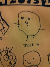 My little brother drew himself for a school collage hes  and apparently thinks hes a potato