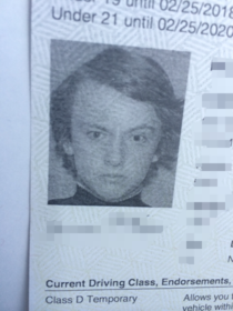 My little brother just got his drivers license and his picture looks like a James Bond villain