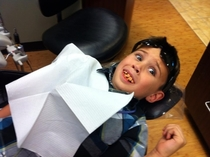 My little cousin decided to pull a prank on the dentist this morning