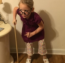 My little sister on old person day at her school
