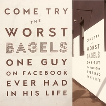 My local cafe promoting its bagels This faces one of the busiest roads in Sydney
