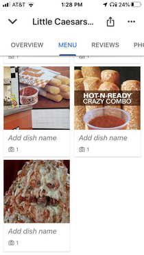 My local Little Caesars menu on Google with an interesting cameo