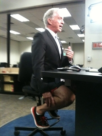 My local news station posted this to their Facebook with the title Ever wonder what anchors really wear under the desk