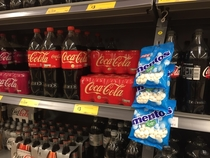 My local supermarket displays Mentos next to Coke