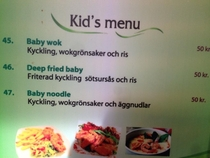 My local Thai food joint has a very  unique interpretation of Kids menu