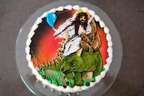 My mom asked my brother what he wanted on his birthday cake He said jokingly Jesus riding a stegosaurus