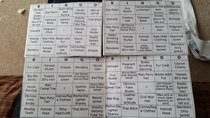 My mom made bingo cards for when she went to hear my dads band The names were for people shed see at the bars