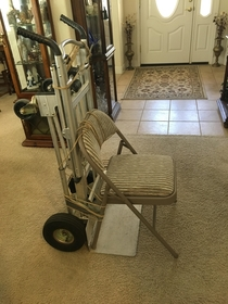 My mom needed a wheelchair so my dad improvised