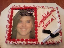 My mom ordered a graduation cake with a cap drawn on I guess they misheard