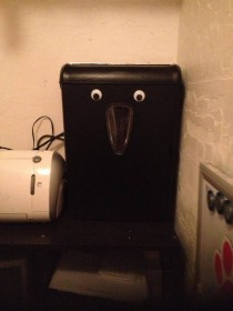 My mom put googly eyes on her shredder Now she insists on making omnomnom sounds when it shreds