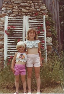 My mom thought it was appropriate to dress my sister and I like this in the late s Yeah I am the funny looking blonde one Why mom why