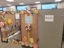 My Moms office had a decorating contest for their cubicles My mom is on the left but I think her neighbor deserved the win