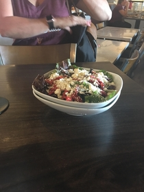 My mother asked for the salad to be put in  bowls so she could share it with her husband well played