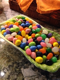 My mother is a monster  fruit jelly beans  mint jelly beans  peanut butter cup eggs WHY