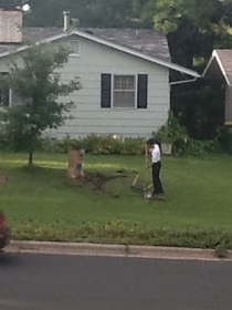My neighbor makes Jehovah Witnesses do her yard work all the time