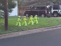 My neighbor stole slow kids playing signs and made them into ninja turtles