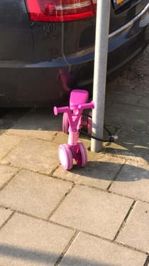 My neighbors little girl wanted to store her bike outside like the grownups