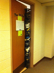 My neopuritanical school has a shoe in the door policy when girls go into guys dorms and vise versa Some clever freshman took it to the next level