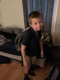 My nephew after getting ready for school this morning April fools