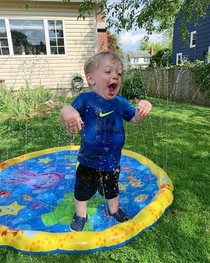 My nephew and his first sprinkler toy