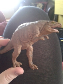 My nephew has a toy dinosaur which we call sneaky dinosaur because he looks rather f sneaky